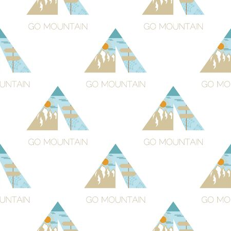 Adventure seamless pattern with camping tent, mountains labels badges. Go mountain text. Travel wallpaper background. Stock vector Фото со стока