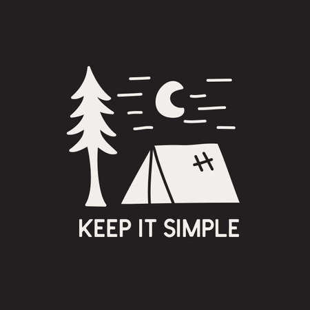 Vintage camping adventure badge illustration design. Outdoor icon with nature landscape and quote - Keep it simple. Retro travel emblem. Unusual hipster style patch. Vector Illustratie