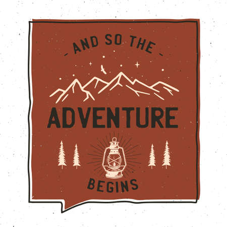 Vintage adventure badge illustration design. Outdoor illustration with camp lantern, mountains and text - And so the adventure begins. Unusual hipster style patch. Stock vector Ilustrace