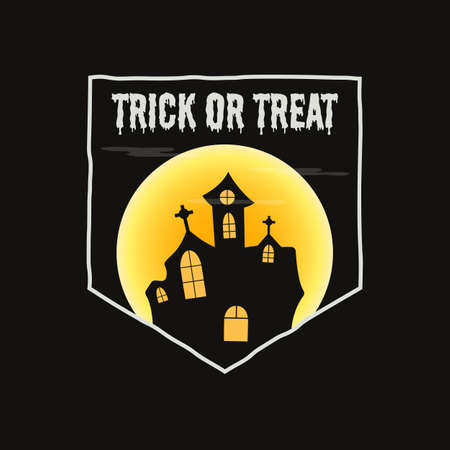 Vintage Halloween typography badge graphics with horror castle landscape scene, moon and quote text - Trick or Treat.