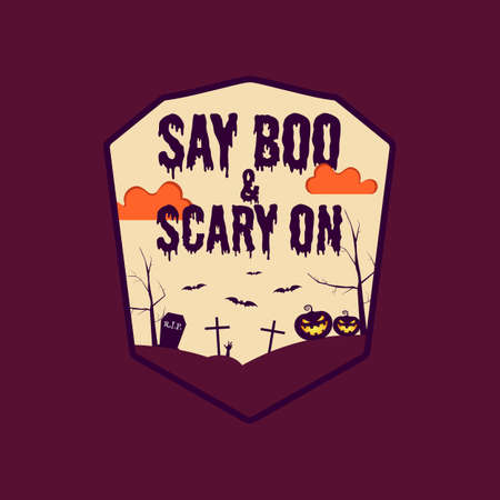 Vintage Halloween typography badge graphics with horror cemetery landscape scene and quote text - Say Boo and Scary On. Holiday retro emblem label. Archivio Fotografico - 157700464