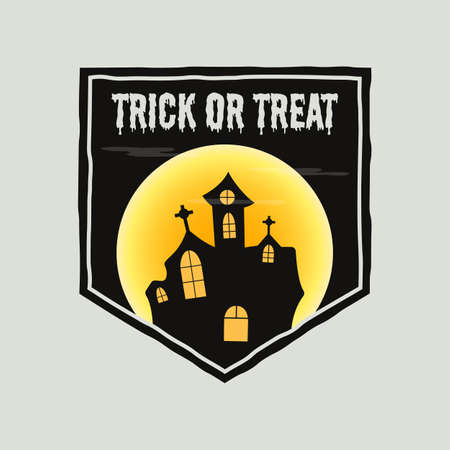 Vintage Halloween typography badge graphics with horror castle landscape scene, moon and quote text - Trick or Treat. Holiday retro emblem label. Stock vector sticker