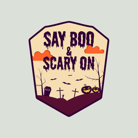 Vintage Halloween typography badge graphics with horror cemetery landscape scene and quote text - Say Boo and Scary On. Holiday retro emblem label. Stock vector sticker isolated
