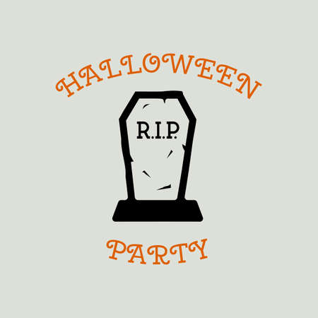 Vintage Halloween typography badge graphics with tomb and quote text - Halloween Party. Holiday scary emblem label. Stock vector sticker