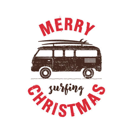 Merry Surfing Christmas badge design with surf trailer. Xmas typography emblem label illustration.