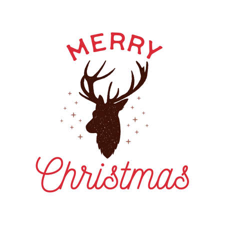 Merry Christmas badge design with deer head and text. Xmas typography emblem label illustration. Stock vector print for t shirt, logotype, cards