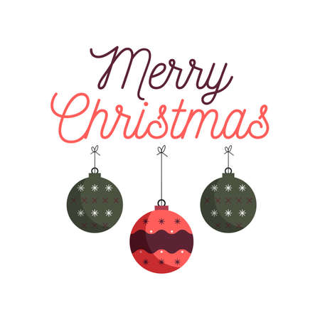 Merry Christmas emblem design with xmas balls toys. Xmas typography label illustration.