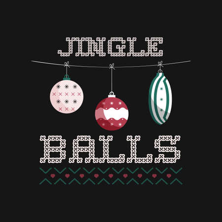 Merry Christmas emblem design with xmas balls toys. Xmas typography label illustration. Jingle balls text. Stock vector print for t shirt, logotype, cards