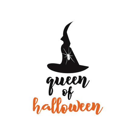 Queen of Halloween emblem design. Holiday poster with hat, spider and text - queen of Halloween. Vector holiday badge illustration. Vettoriali