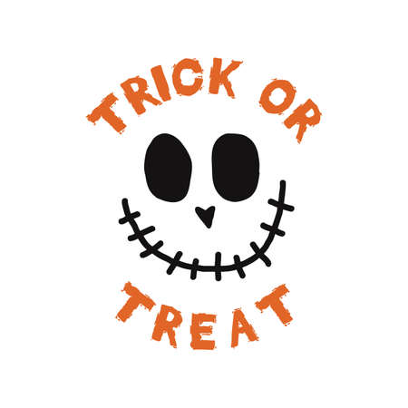 Happy Halloween emblem design. Holiday poster with fun face and text - Trick Or Treat. Vector holiday halloween badge illustration. Vettoriali