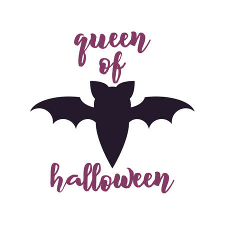 Happy Halloween emblem design. Holiday poster with bat and text - Queen of Halloween. Vector badge illustration. Vettoriali