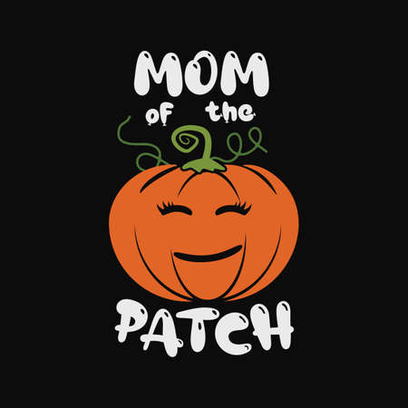 Happy Halloween emblem design. Holiday poster with pumpkin and text - Mom of the patch. Vector halloween badge illustration.
