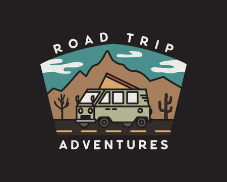 Vintage road trip journey badge illustration design. Outdoor emblem with RV, mountains and text - Road Trip adventures. Unusual hipster style patch. Stock vector