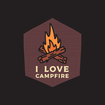 Camping adventure emblem illustration design. Outdoor with bonfire and text - Campfire. Unusual linear hipster style patch. Stock vector label Vettoriali