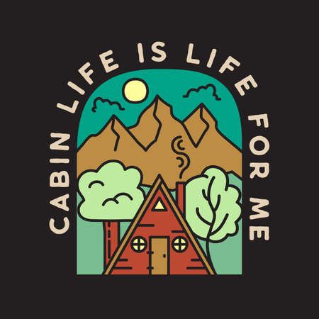Vintage adventure badge illustration design. Outdoor emblem with cabin, trees, mountains and text - Cabin Life is life for me. Unusual linear hipster style patch. Stock vector