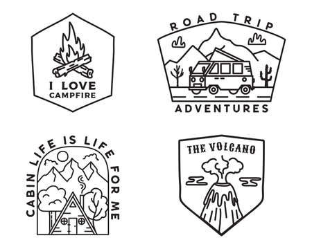 Vintage mountain camp badges set, Adventure stickers. Hand drawn emblems bundle. Road trip, Travel expedition, campfire labels. Outdoor hiking designs.