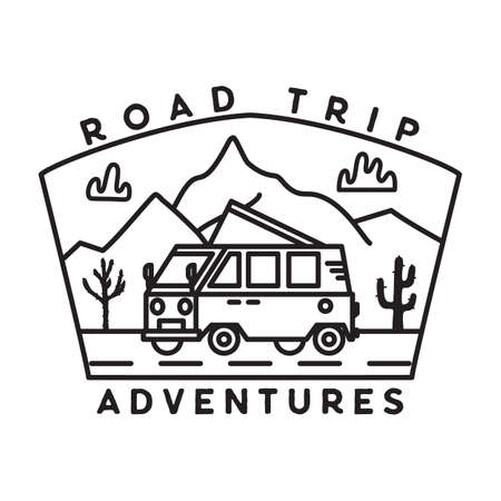 Vintage road trip journey badge illustration design. Outdoor emblem with RV, mountains and text - Road Trip adventures. Unusual linear style patch. Stock line art vector Vettoriali