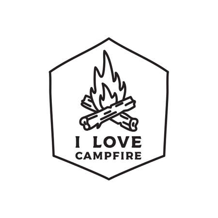 Camping adventure emblem illustration design. Outdoor logo with bonfire and text - Campfire. Unusual linear style patch. Stock vector label