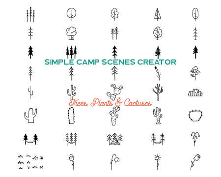 Simple vector trees and cactuse icons shapes set.  Outdoor adventure line art elements bundle. Silhouette linear concept. Stock vector collection