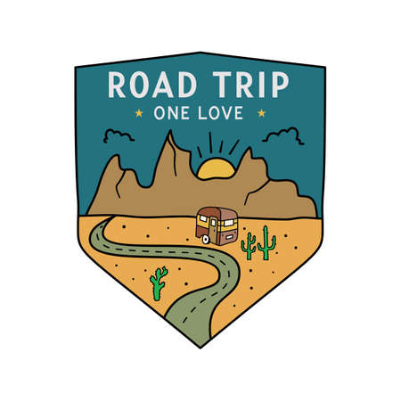 Vintage camping RV logo, adventure emblem illustration design. Outdoor road trip label with camper trailer and text - Road trip One love. Unusual linear hipster style sticker. Stock vector.