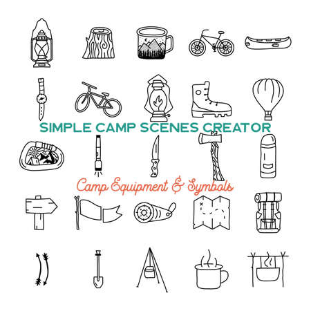 Simple vector camping icons shapes set. Outdoor adventure line art elements bundle. Silhouette linear concept. Stock vector collection Vettoriali