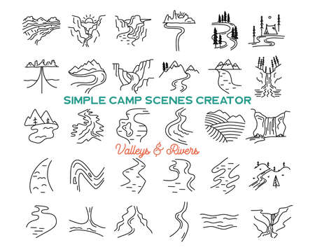 Simple vector mountains valleys and rivers icons shapes set. Outdoor adventure line art mountain elements bundle. Silhouette linear concept. Stock vector collection