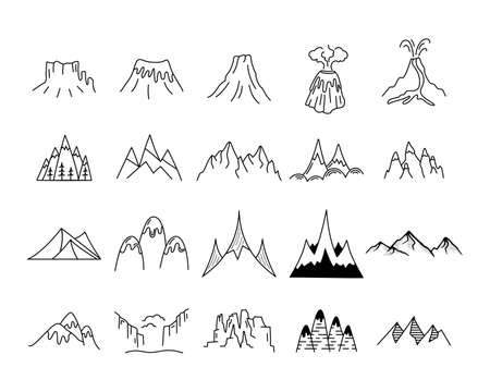 Simple vector mountains icons shapes set. Outdoor adventure line art mountain elements bundle. Silhouette linear concept. Stock vector hills collection
