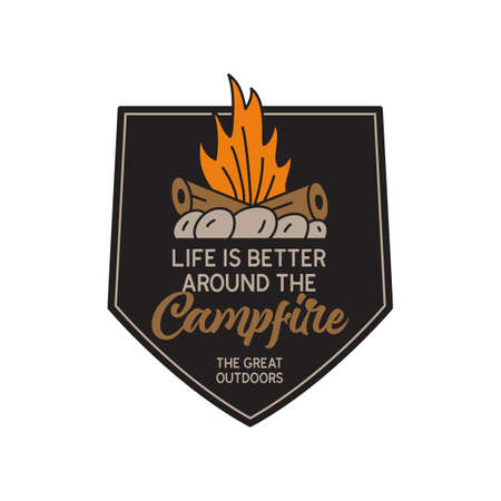 Vintage camping logo, adventure emblem illustration design. Outdoor label with campfire and quote text - Life is better around the campfire. Unusual linear hipster style sticker. Stock vector.