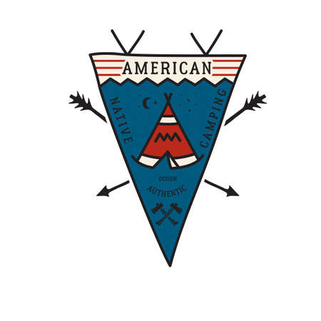 Vintage camping adventure pennant emblem illustration design. Outdoor logo badge with tent and text - American native camping, authentic design. Vettoriali