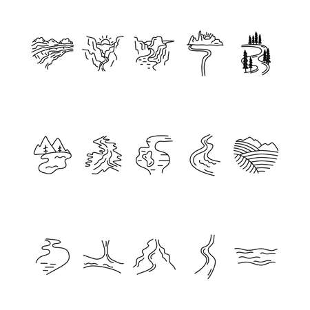 Simple vector valleys, rivers and mountains icons shapes set.  Outdoor adventure line art elements bundle. Silhouette linear concept. Stock vector Vettoriali