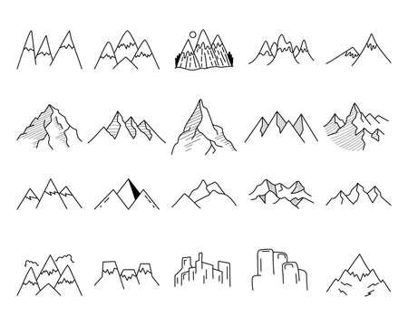 Simple vector mountains icons shapes set. Outdoor adventure line art mountain elements bundle. Silhouette linear concept. Stock vector bundle Vettoriali