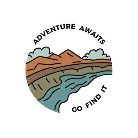 Vintage camping adventure badge illustration design. Outdoor emblem with mountains valley and text - Adventure awaits go find it. Unusual linear hipster style patch. Stock vector