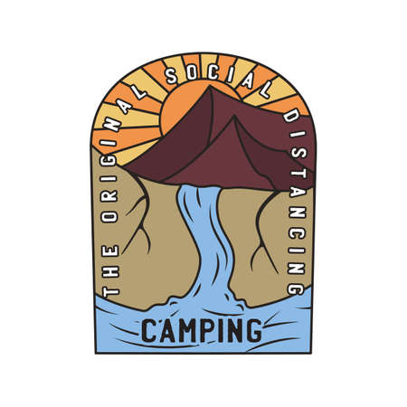 Vintage camping logo, adventure emblem illustration design. Outdoor mountain life label with waterfall scene and text - Original social distancing.  Stock vector.