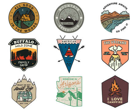 Vintage mountain camping badges logos set, Adventure patches. Hand drawn stickers designs bundle. Travel expedition, hiking labels. Outdoor sports emblems.
