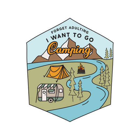 Vintage camping RV logo, adventure emblem illustration design. Outdoor road trip label with car, caravan and text - I Want to go camping. Unusual linear hipster style sticker. Stock vector.