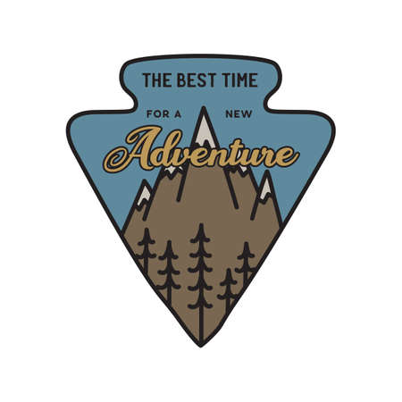 Vintage camping logo, adventure emblem illustration design. Outdoor label with mountains and quote text - the best time for a new Adventure. Unusual linear hipster style sticker. Stock vector.