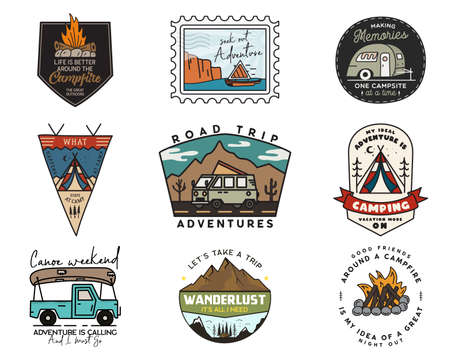 Camping adventure badges logos set, Vintage travel emblems. Hand drawn stickers designs bundle. Hiking road trip, rv, canoe labels. Outdoor camper insignias. Logotypes collection. Stock vector. Vettoriali