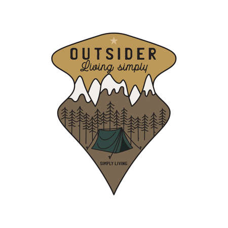 Vintage mountain camping scene logo, adventure emblem illustration design. Outdoor label with tent, trees and text - Outsider Living simply, simply living. Unusual linear style sticker. Stock vector.
