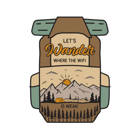Vintage camping adventure badge illustration design. Outdoor logo emblem with mountains scene inside the backpack and text - Lets wander. Unusual linear hipster style patch. Stock vector