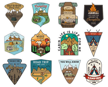 Camping adventure badges logos set, Vintage travel emblems. Hand drawn stickers designs bundle. Hiking expedition, road trip labels. Outdoor camper insignias. Logotypes collection. Stock vector. Vettoriali
