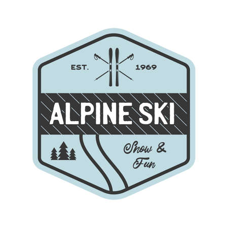 Camping mountain expedition logo emblem illustration design. Outdoor adventure label with mountains and text - Alpine ski. Unusual linear hipster sticker. Stock vector.