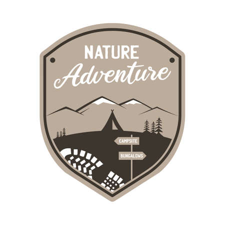 Vintage camping adventure logo emblem illustration design. Outdoor label with tent, mountain scene and text - Nature adventure. Unusual linear hipster style sticker. Stock vector.