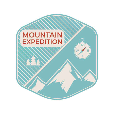 Camping mountain expedition logo emblem illustration design. Outdoor adventure label with mountains, compass and text. Unusual linear hipster sticker. Stock vector. Vettoriali