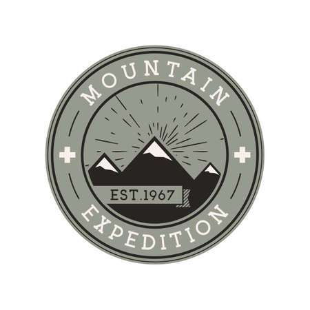 Camping mountain expedition logo emblem illustration design. Outdoor adventure label with mountains and text. Unusual linear hipster sticker. Stock vector.