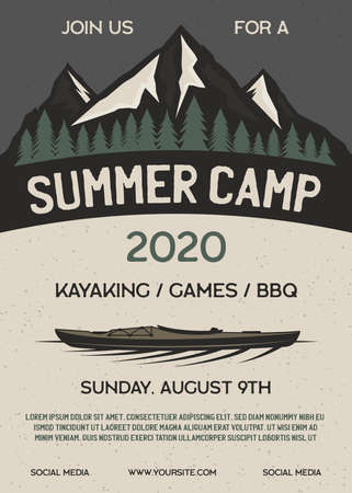 Summer camp flyer A4 format. Mountain Adventure poster graphic design with forest, kayak and text. Stock vector retro card