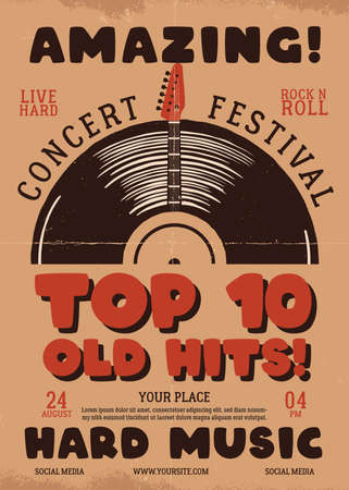 Retro Music flyer A4 format. Top 10 old hits poster graphic design with guitar and text. Stock vector hard music card