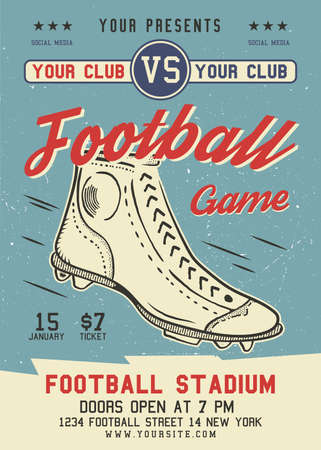 American Football flyer A4 format. Rugby game poster graphic design with retro boot and text. Stock vector retro sports card
