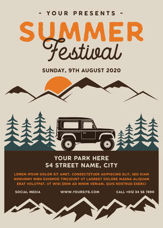 Summer festival camp flyer A4 format. Mountain Road Trip Adventure poster graphic design with forest, car and text. Stock vector retro card