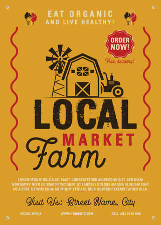 Local Farm Market flyer A4 format. Farm Fresh organic products poster graphic design with tractor, mill and barn. Stock vector retro card