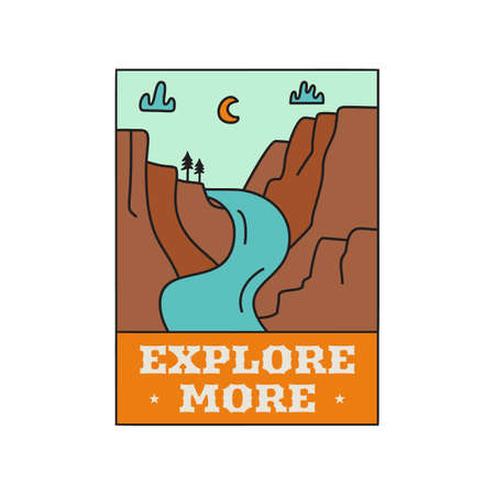 Camping adventure logo emblem illustration design. Outdoor label with mountains landscape and text - Explore more. Unique sticker. Stock vector.